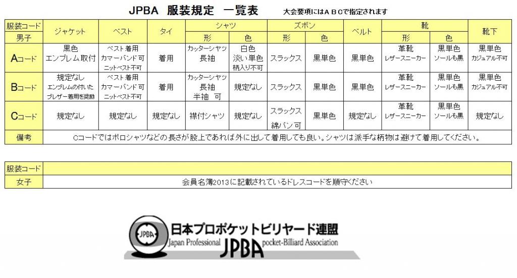 服装規定 | JPBA|日本プロポケットビリヤード連盟