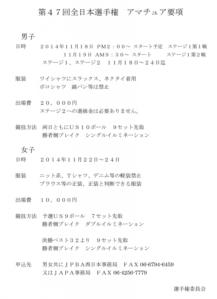 第47回全日本選手権 アマチュア要項